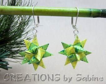 Star Earrings, Hand Folded Paper Silver Tone Metal Nickel Free Lever Back Christmas Trees Green Yellow Holidays READY TO SHIP (12)