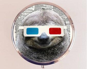 Sloth 3D Glasses Pill Box Case Pillbox Holder Stash Trinket Box Anthropomorphic Animal Pop Art Kitsch