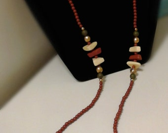 Beautiful Wood & Clay Bead Necklace