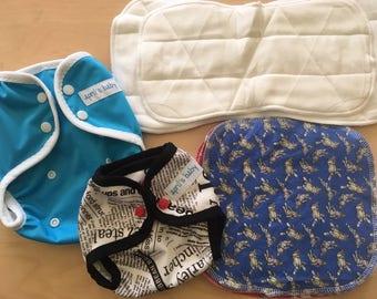 Cloth diaper starter kit- one size, newborn, insert, reusable PUL cloth diaper, AI2