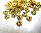 50 Bead Caps - 8mm Bead Cap Lot - Jewelry Findings - Scalloped Bead Caps - Gold Tone Bead Cap