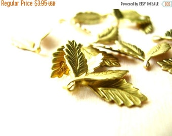 Christmas Sale 12 Small Raw Brass Leaves - Leaf Stampings - Leaf Findings - Brass Findings