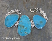 Natural turquoise from Nevada and sterling silver bracelet -metalsmith silversmith