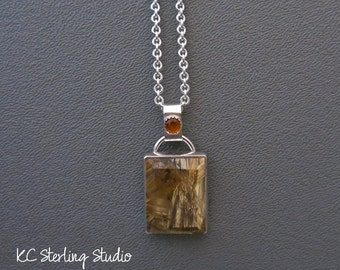 Gold rutilated quartz and sterling silver pendant necklace - metalsmith silversmith