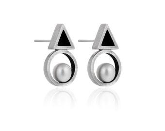 Sterling Silver Geometric Studs with Pearl, Silver Pearl Earrings Modern Minimalist Jewelry