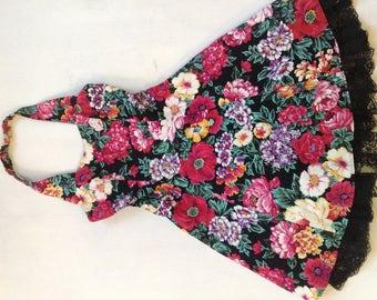 DBA LA Dress Junior Size 3 Vintage 90's Floral Sundress Tutu Lines Skirt