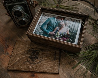 Set of 6 - 4x6 Wood print box with enough space for 4x6 prints