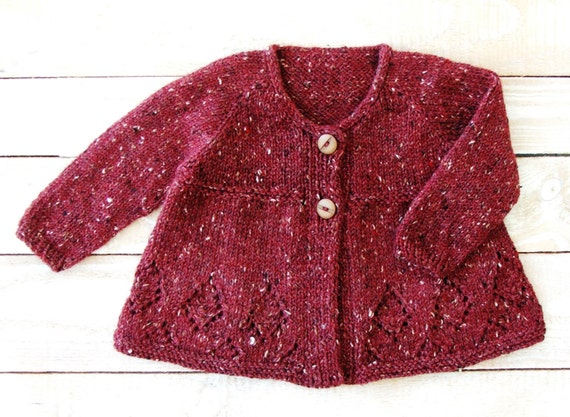 Baby Girl Clothes Burgundy Red Girls Cardigan Sweater Hand