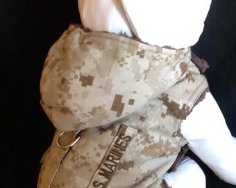 U.S. Marines Dessert Camo Fur Dog Harness With Service/Name Tab - Size  XS X, S, M