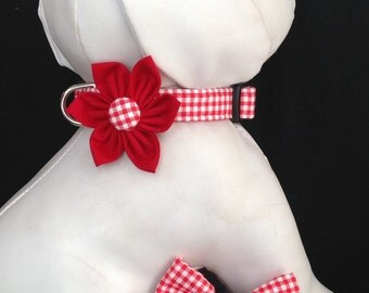 Dog Collar Flower/Bow Tie Set - Red And White Gingham - Size XS, S, M, L, XL