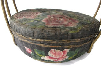 vintage Chinese sewing basket with flowers and handles