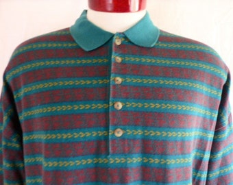 vintage 90s Cross Creek Classics color block horizontal patterned stripe forest green maroon red mustard yellow long sleeve polo shirt large