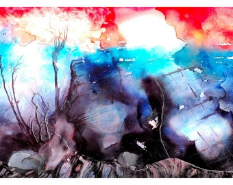 P100 - Black Blue Red White Abstract Landscape Art Postcard