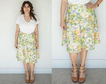 Vintage Watercolor Skirt / 1960s Skirt / A-Line Skirt / Floral Skirt / Pastel Skirt / Flared Skirt / High Waist Skirt / Green Skirt