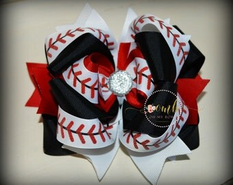 Baseball Sis Themed Boutique Style Bow - Hair Bow - Hairbow - Layered Bow - Stacked Bow - Over the Top - OTT - Sports Bow - Baseball Laces