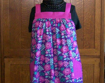 Purple and Pink Floral No Tie Smock - Plus Size Smock Apron - Size 3-4XL