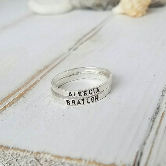 2 Sterling Silver Name Rings, 2mm, Stackable Name Ring,  Personalized Name Rings, thin stacking rings, Custom name ring, Hammered stacker