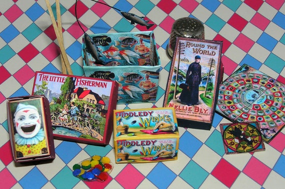 Board games, craft Kit from paper in miniature for the Doll House, Doll House, dollhouse miniatures # 40011