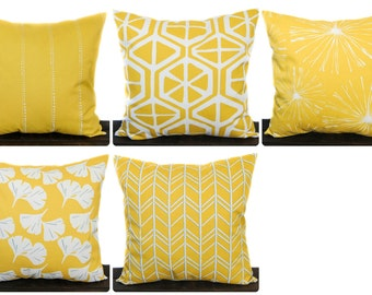 Decorative Throw Pillow Cover, Cushion Cover Mimosa Yellow, white, blue