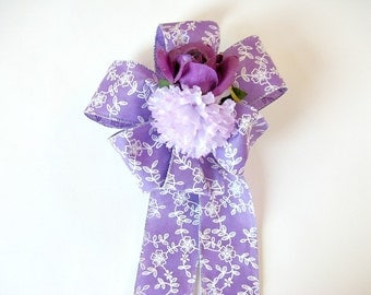 Gift bow for women, Gift wrap bow, Birthday gift bow, Purple & white gift bow, Feminine gift bow, Gift basket bow, Floral gift bow (HB103)