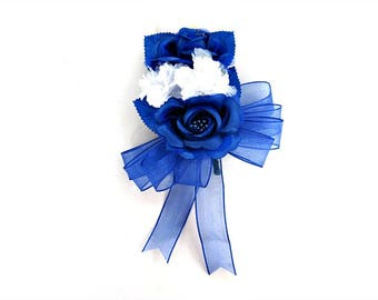 Special occasion royal blue and white corsage, Bridal shower corsage, Women's Corsage, Blue silk floral corsage, Silk floral corsage