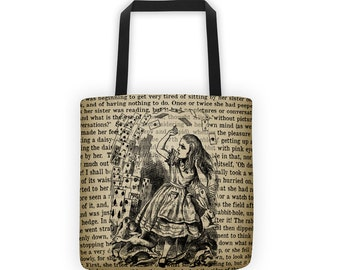 Literary Tote // Alice in Wonderland // Vintage Wonderland Image // Gift for Her // Book Lover Gift // Teacher Tote Bag // Black
