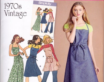 Simplicity 8073, Uncut Sewing Pattern, Apron Dress, 1970's Vintage Reproduction Pattern, Misses' Sizes 4-12 or 12-20
