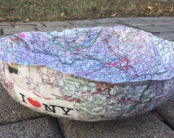 New York State Handmade Paper Mache Bowl, Papier Mache, New York Road Map, Upcycled Decorative Bowl, Recycled Home Decor