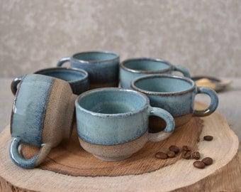 Turquoise Pottery Espresso cups, Stoneware Elegant Espresso cups, coffee lovers gift, Ceramic coffee mug set, Espresso mug