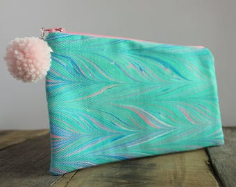 Hand Marbled Zip Pouch - Teal, Pink & Blue - item #8065