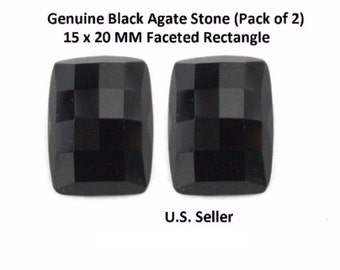 100% Natural Black Agate 15 x 20 MM Faceted Rectangle (Pack of 2)