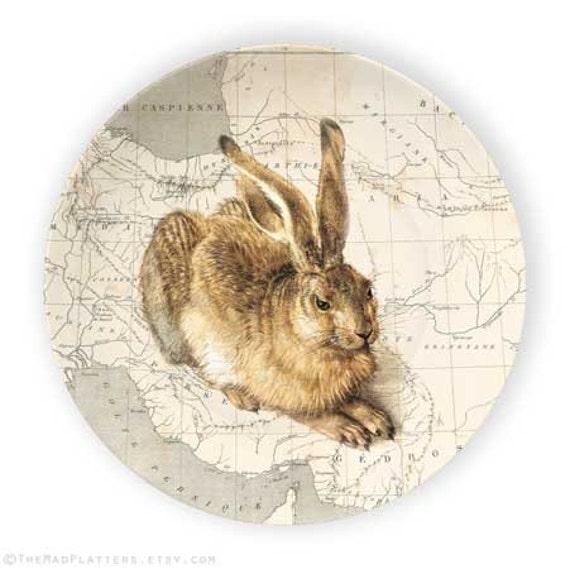 rabbit, vintage map melamine plate