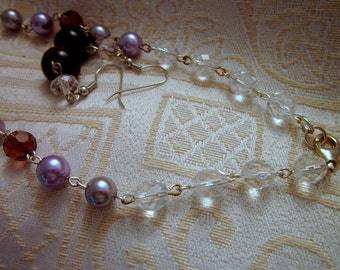 SET- Crystal Rondels Lavender Glass Beads Glass Deep Wine Colored Faceted Glass Necklace and ERs