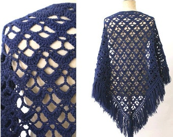 1970 Crochet pure wool Shawl navy