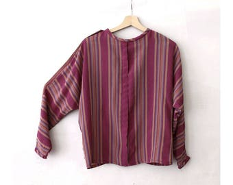 1980 Purple  Stripes Blouse back buttoned  Bat sleeves
