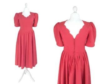 Vintage Laura Ashley Dress - Salmon Pink Dress - 1980's Dress - Scallop Neckline Dress