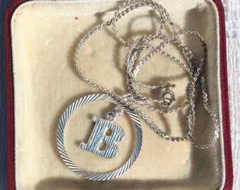 Vintage Letter Initial B Circular Sterling Silver Necklace