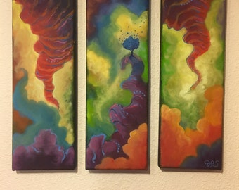 Colorful Abstraction - abstract oil painting, triptych