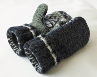 Children's - Medium - Felted Wool Mittens - Navy Blue/Green - Wool Mittens - Felted Wool Sweater Mittens - Ready To Ship