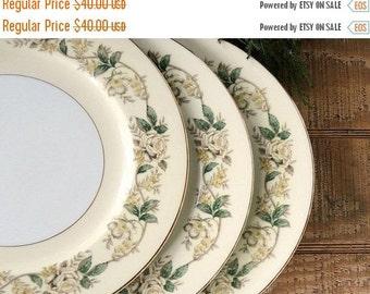 On Sale Noritake Dinner Plates Set of 3 Cottage Style White Roses, Mid Century Table Decor, Vintage Housewares, Housewarming Gift
