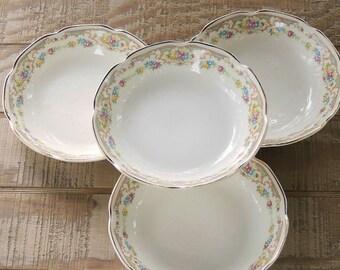 Mount Clemens Mildred Soup Bowls, Set of 4, Cottage Style, Antique, Tea Party, Farmhouse, Wedding, Bridesmaid Gift, Ca. 1940s