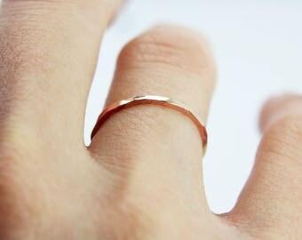 Rose gold wedding band - Thin wedding band - skinny wedding ring - pink gold - 9K Rose gold - solid gold ring - delicate wedding band - tiny