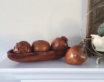 Vintage Mid Century Wood Fruit Collection / Boho, Bohemian, Home Decor, Prop, Display