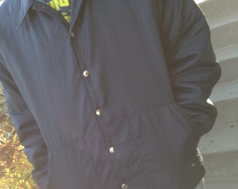 Vintage 70s hipster mens navy windbreaker lightweight jacket size xl free domestic shipping