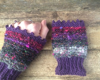 Hand knitted chunky cuffs/wristwarmers