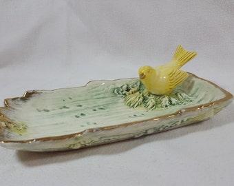 Vintage Yellow Bird Canary Jewelry Dish, Green and Gold Accents