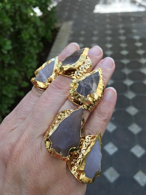 Jasper arrowhead rings, statement rings, boho jewelry