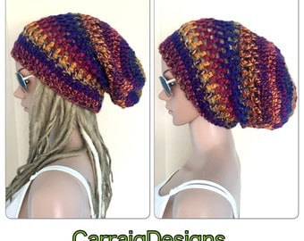 BUY1GET1HALFPRICE Designer dreadlocks slouch hat womens mans mens unisex crochet knit dread multi beanie sale gift tam accessorY hippy afro