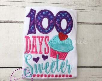 100 Days Sweeter - 100th Day of School Shirt - 100 Days of School - Girls Personalized  - School Shirt - Girls 100th Day of School Shirt
