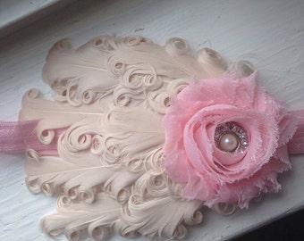 Pink and Cream Feather Flower Headband, Newborn Headband, Baby Girl Headband, Baby Girl Flower Headband, Photography Prop